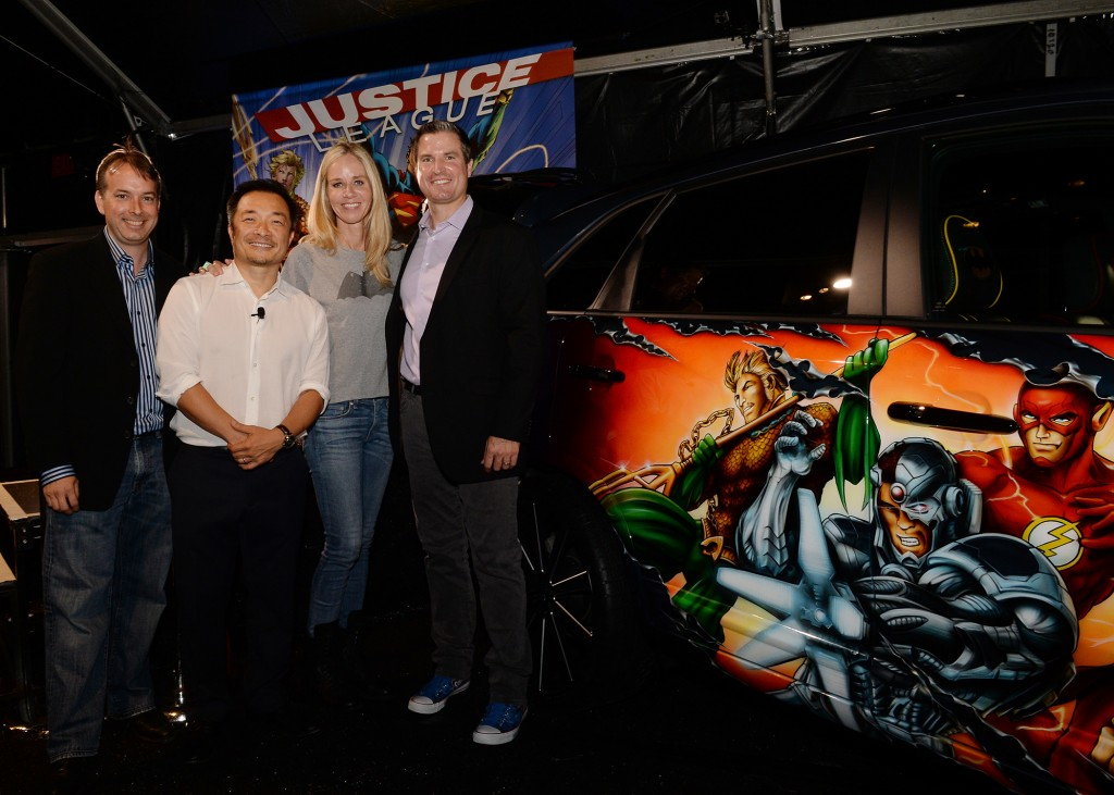 Executives (From L to R) Gene Cook (EBAY GM, emerging verticals), Jim Lee (creator and co publisher), Diane Nelson (pres. dc ent.) and Scott Mckee (Kia Motors, dir. public relations) unveiled the JUSTICE LEAGUE-inspired Kia Sorento, the eighth and final custom vehicle built in partnership with Kia Motors America. The car is the centerpiece of a special auction on EBAY, which begins today, July 17, 2013.